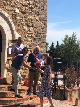 Michel Thiriet, Jean-Baptiste Trilles et Darren Rigby lors de la mise à l'honneur des citoyens du 14 juillet 2020