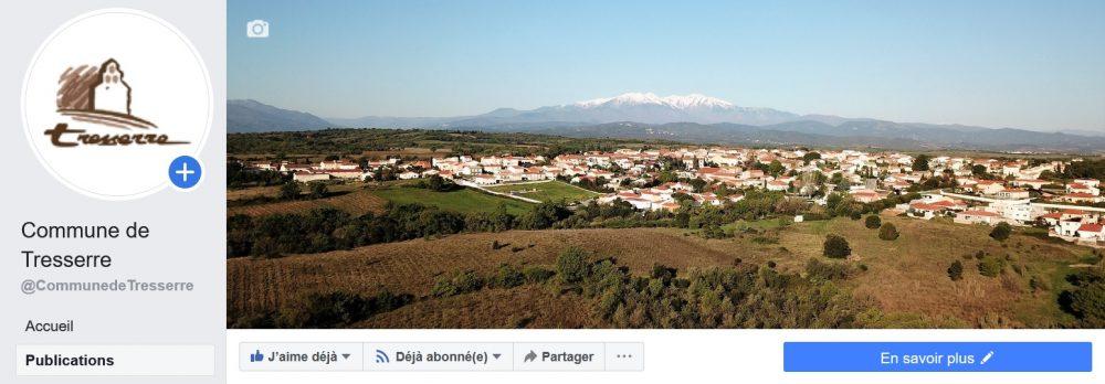 Capture d'écran de la page Facebook (version classique) de la commune de Tresserre (66300)