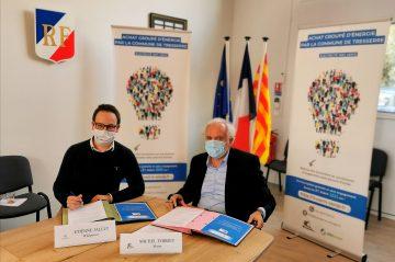 Étienne Jallet, directeur de la société Wikipower et Michel Thiriet, maire de Tresserre