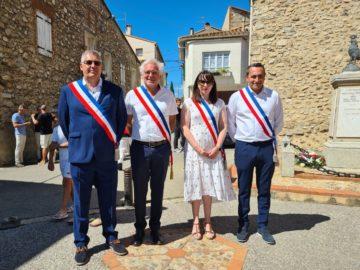 Michel THIRIET, maire de Tresserre et ses Adjoints, Jean-Baptiste TRILLES, Stéphanie PLANES et Darren RIGBY